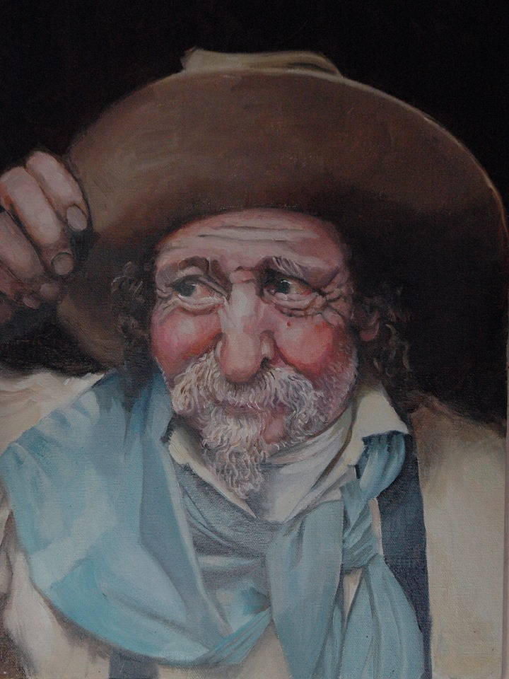 The Hatmaker (https://www.facebook.com/CowboyIndianArtByLesLeFevre/ ) titled Grizz the Hatmaker